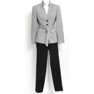 Black & White Check Belted Jacket Pant Suit SET 4